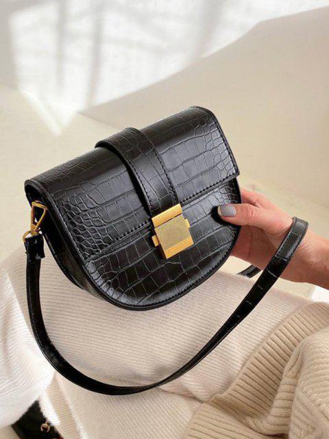 sale Textured Crossbody Saddle Bag - BLACK  Mobile