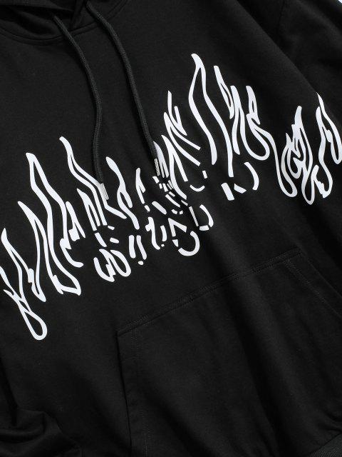 Flammen Druck Vorder Taschen Hoodie - Schwarz 2XL Mobile