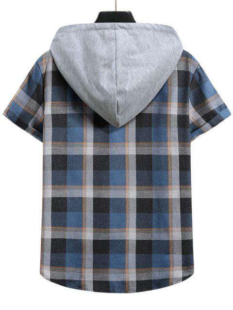 shop Contrast Hood Plaid Print Short Sleeve Shirt - DENIM DARK BLUE XL Mobile