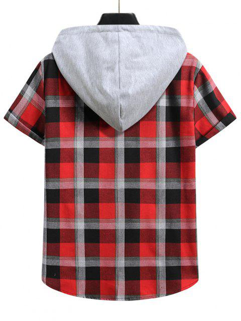 Contrast Hood Plaid Print Short Sleeve Shirt - الحمم الحمراء M Mobile