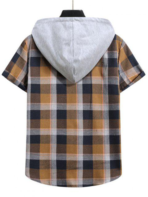 outfit Contrast Hood Plaid Print Short Sleeve Shirt - CAMEL BROWN S Mobile