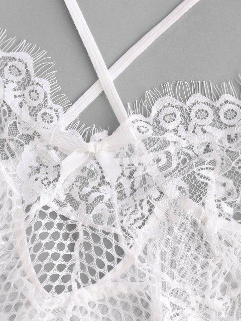 ladies Lace Mesh Criss Cross Lingerie Teddy - WHITE L Mobile