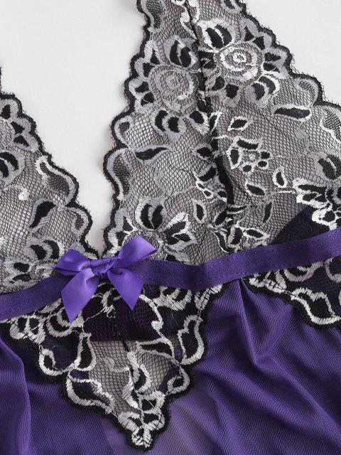 chic Contrast Lace Halter Mesh Lingerie Bobydoll with T Back - CONCORD S Mobile