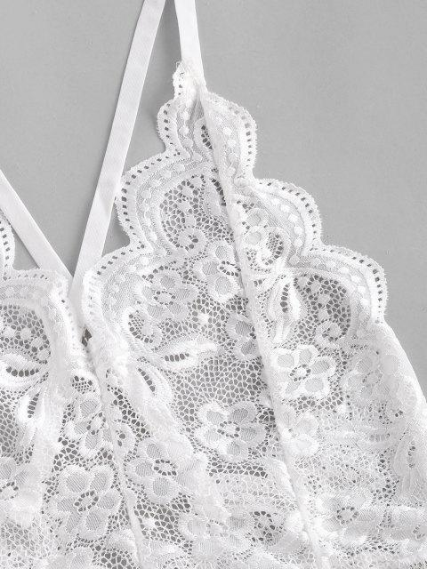 outfits Flower Lace Scalloped Criss Cross Backless Lingerie Teddy - WHITE S Mobile