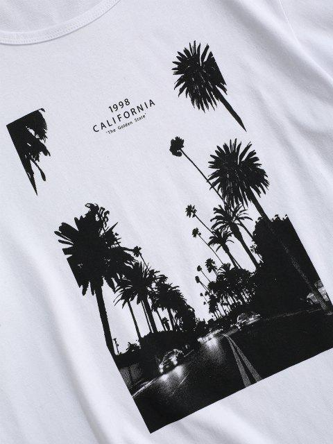 chic California Palm Tree Graphic T-shirt - WHITE 2XL Mobile