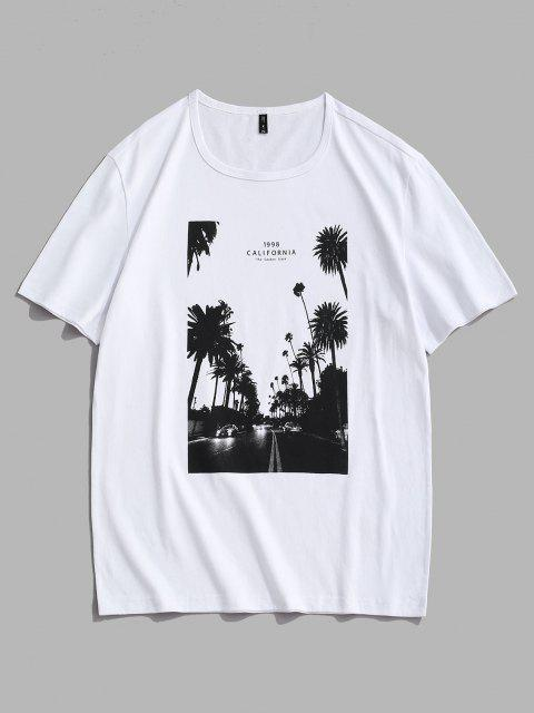 California Palm Tree Graphic T-shirt - أبيض M Mobile