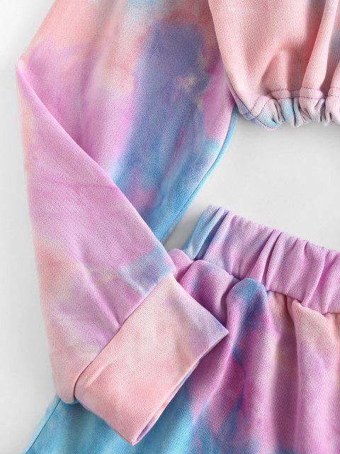 hot Lounge Tie Dye Drop Shoulder Shorts Set - LIGHT PURPLE S Mobile
