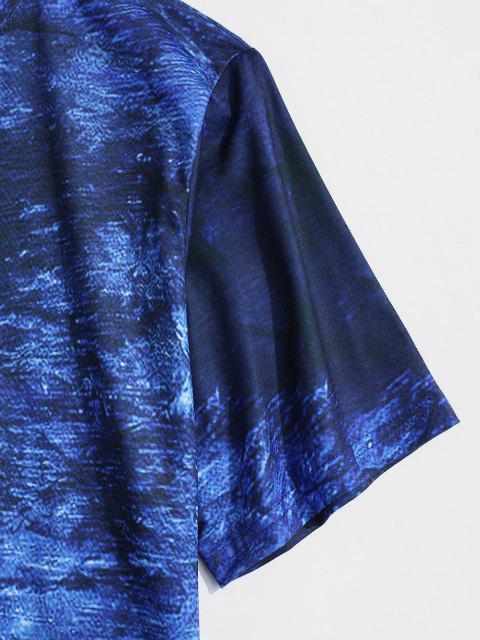 T-Shirt Stampata con Maniche Corte - Blu L Mobile