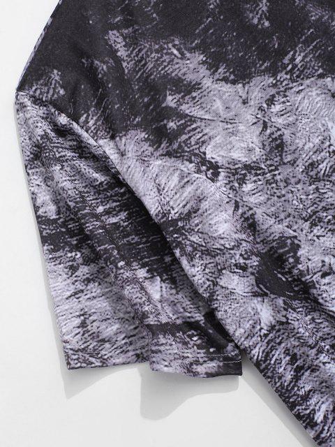 shop Short Sleeve Printed Curved Hem T-shirt - GRAY XS Mobile