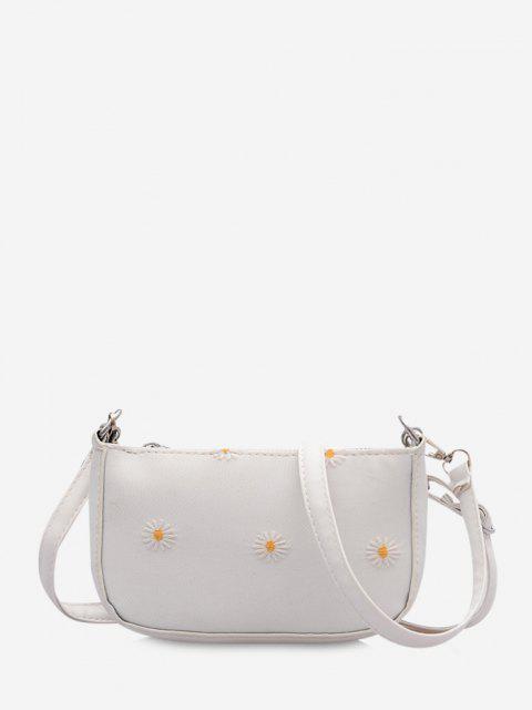 shops Daisy Flower Pattern Shoulder Bag - MILK WHITE  Mobile