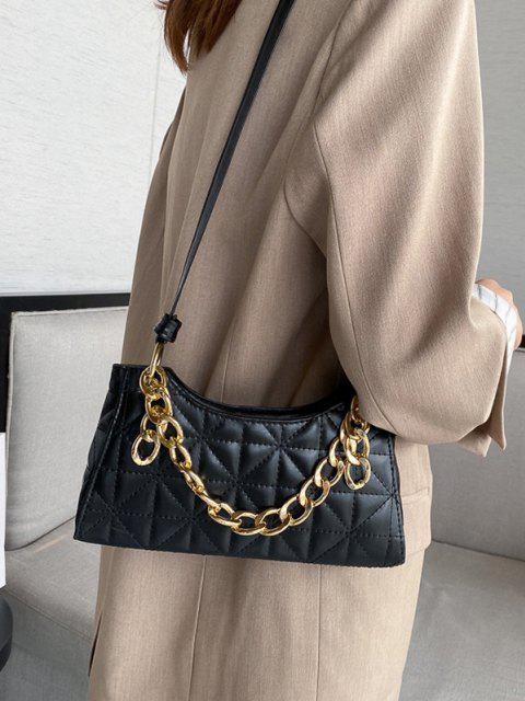 trendy Chain Quilted Shoulder Bag - BLACK  Mobile