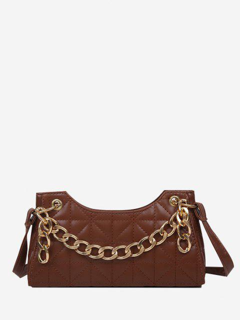 chic Chain Quilted Shoulder Bag - BROWN  Mobile