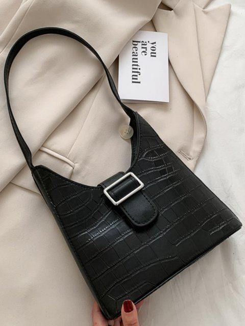 sale Buckle Embellished Shoulder Bag - BLACK  Mobile