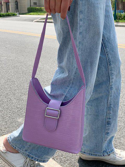 women Buckle Embellished Shoulder Bag - PURPLE  Mobile