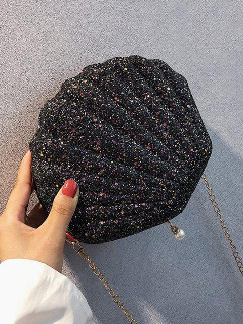 outfits Shell Shape Glitter Chain Crossbody Bag - BLACK  Mobile