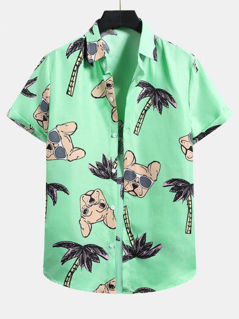 buy Palm Tree Dog Pattern Vacation Shirt - MINT GREEN 2XL Mobile