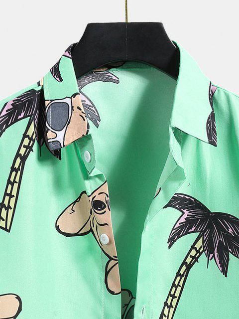 women Palm Tree Dog Pattern Vacation Shirt - MINT GREEN XL Mobile
