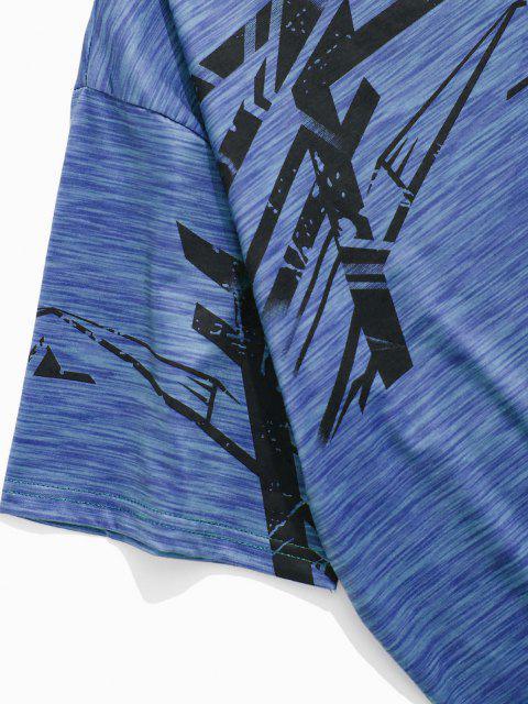 Meliertes Kurzärmliges Sport T-Shirt - Blau XS Mobile