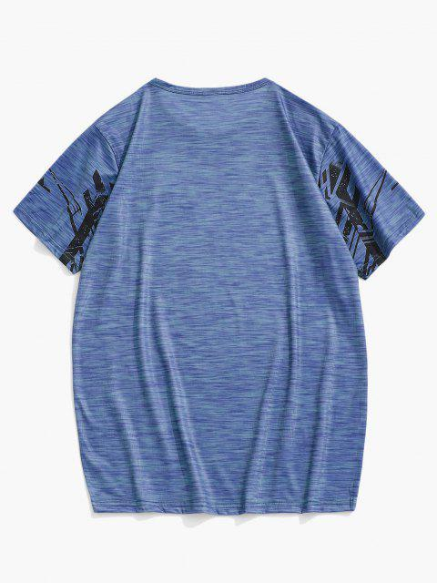 T-shirt de Sport Géométrique Chiné à Manches Courtes - Bleu L Mobile