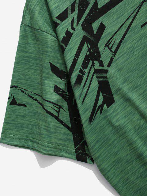buy Heathered Geo Short Sleeve Sport T-shirt - GREEN L Mobile