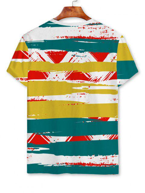 online Painting Stripe Short Sleeve T-shirt - WHITE 2XL Mobile