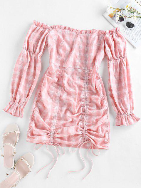 sale ZAFUL Off Shoulder Cinched Plaid Mini Dress - PINK S Mobile