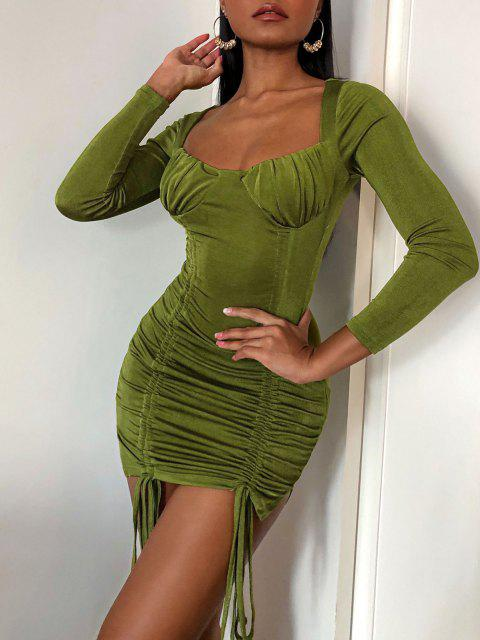 trendy Cinched Ruched Bust Sheeny Bodycon Dress - DEEP GREEN M Mobile