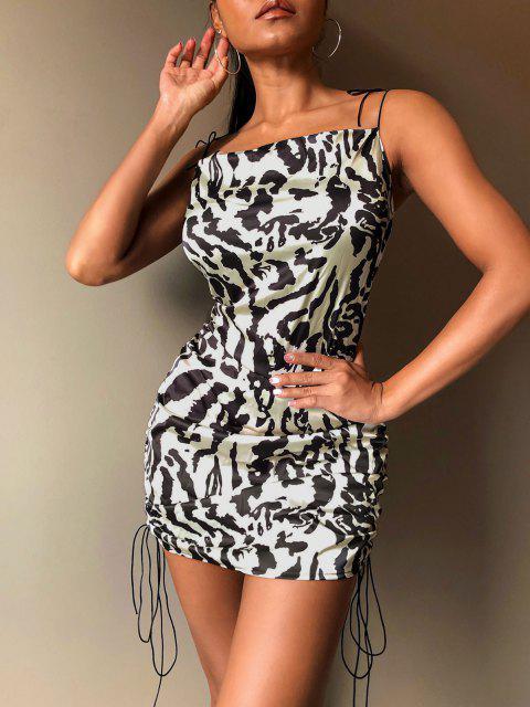 Vestido Cami de Hombro con Lazo Descubierto con Estampado de Leopardo - Multicolor M Mobile