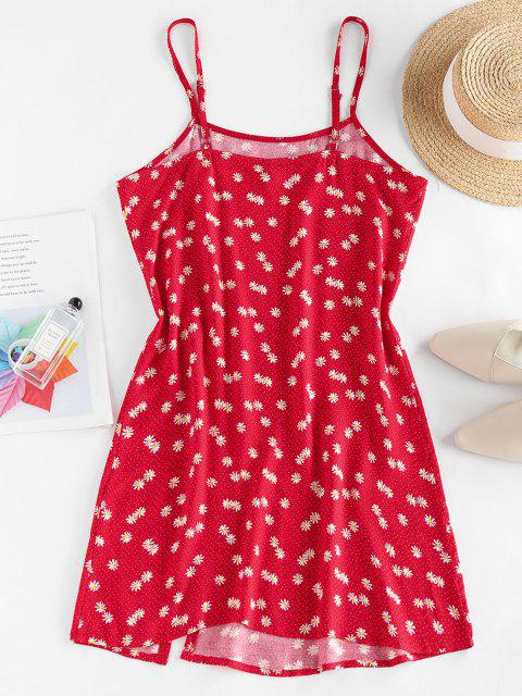 unique ZAFUL Daisy Floral Slit Cami Mini Dress - RED M Mobile