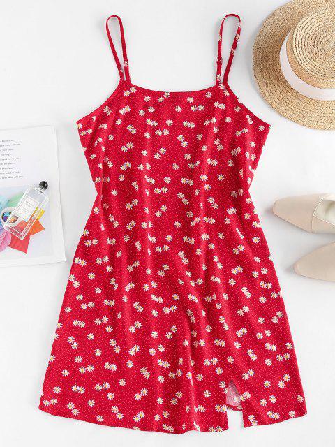ZAFUL Mini Vestido de Tirante Fino con Abertura de Flores - Rojo M Mobile