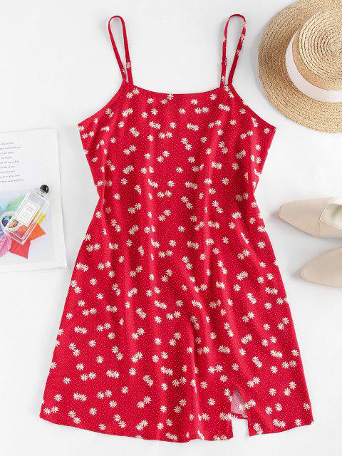 outfits ZAFUL Daisy Floral Slit Cami Mini Dress - RED S Mobile