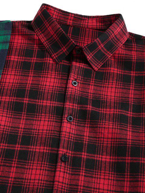 shop ZAFUL LOS ANGELES Colorblock Plaid Asymmetric Shirt - MULTI L Mobile