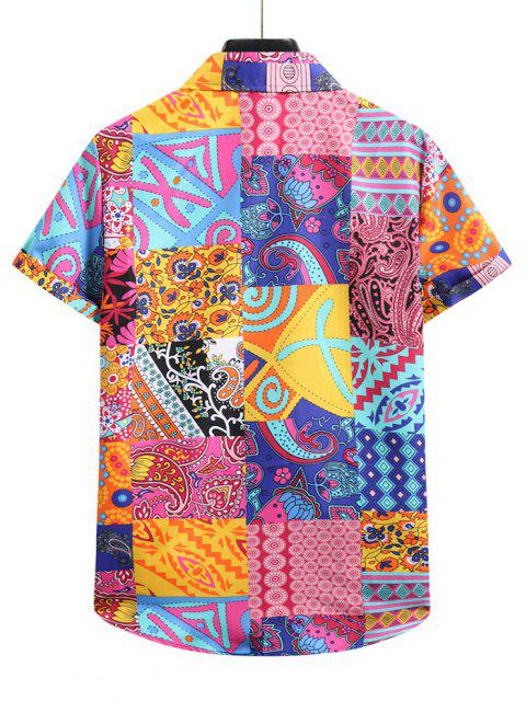affordable Paisley Floral Patchwork Short Sleeve Vacation Shirt - MULTI-B 2XL Mobile