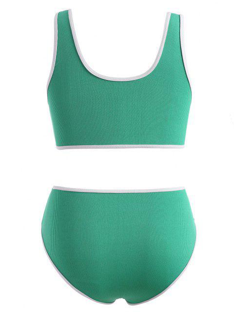 ZAFUL Maillot de Bain Bikini Contrasté Côtelé à Col V - Vert clair XL Mobile