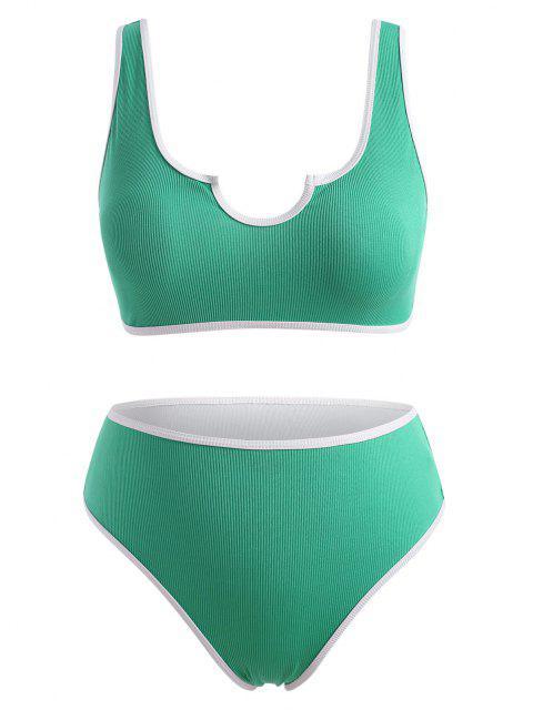 fancy ZAFUL Ribbed V Notched Contrast Binding Bikini Swimwear - LIGHT GREEN XXXXL Mobile