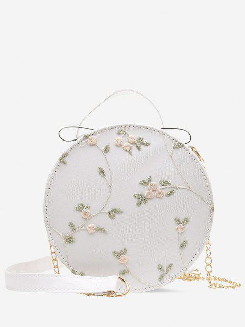 online Embroidery Floral Lace Canteen Bag - CRYSTAL CREAM  Mobile