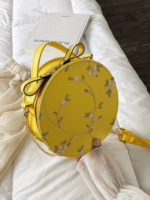 Bolsa Cantimplora Tejida Encaje Bordado Floral - Amarillo de Sol   Mobile
