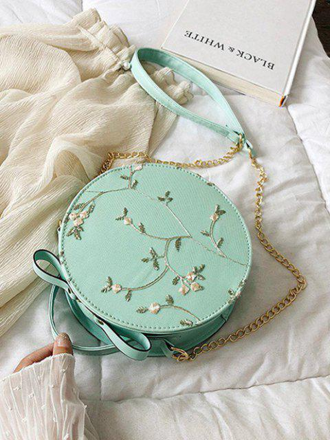hot Embroidery Floral Lace Canteen Bag - MEDIUM TURQUOISE  Mobile