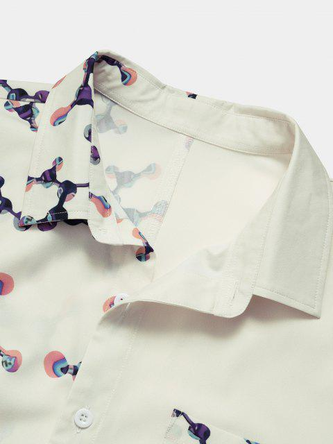 lady Molecular Structure Print Button Up Pocket Shirt - WHITE S Mobile