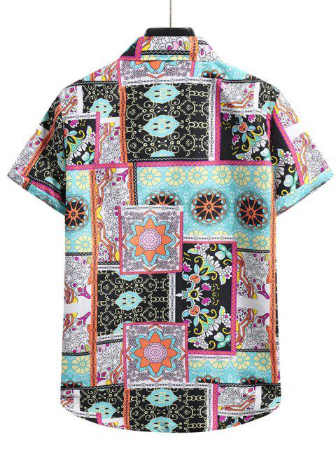 chic Floral Patchwork Print Short Sleeve Shirt - MULTI-A XL Mobile