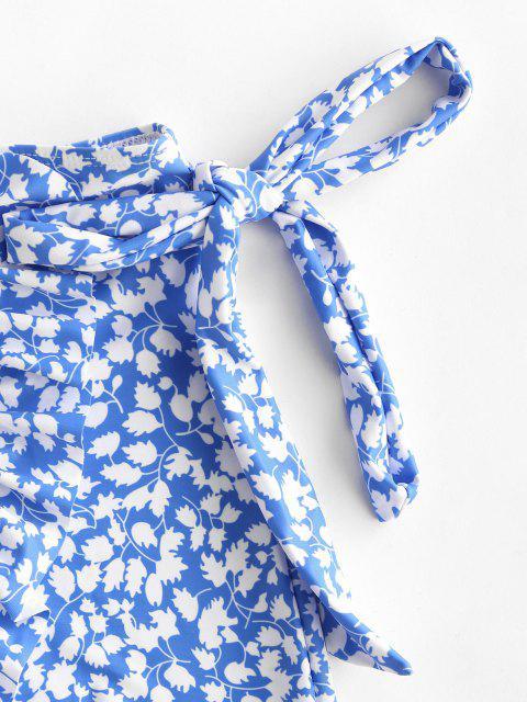 shops ZAFUL Leaf Print Bowknot Ruffle Tulip Hem Beach Skirt - BLUE S Mobile