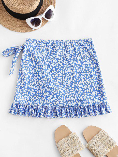 trendy ZAFUL Leaf Print Bowknot Ruffle Tulip Hem Beach Skirt - BLUE L Mobile