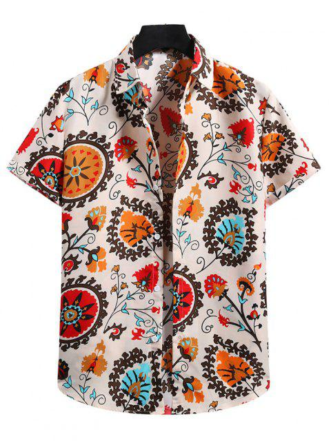 lady Flower Print Short Sleeve Shirt - BLANCHED ALMOND M Mobile