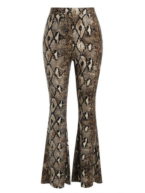 shop Snakeskin High Waisted Flared Pants - DEEP COFFEE L Mobile