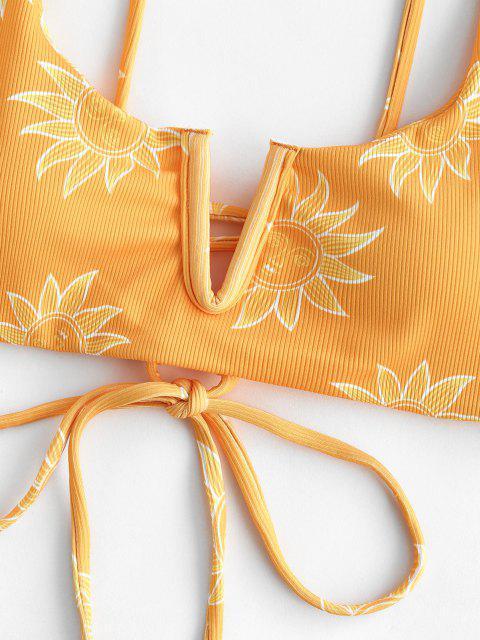 ZAFUL Sonnendruck Bikini-Top mit V Förmigen Rippen und Schnürung - Gelb M Mobile