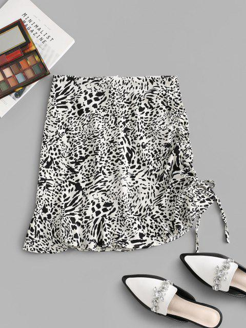 latest Leopard Cinched Tie Flounce Skirt - WHITE M Mobile