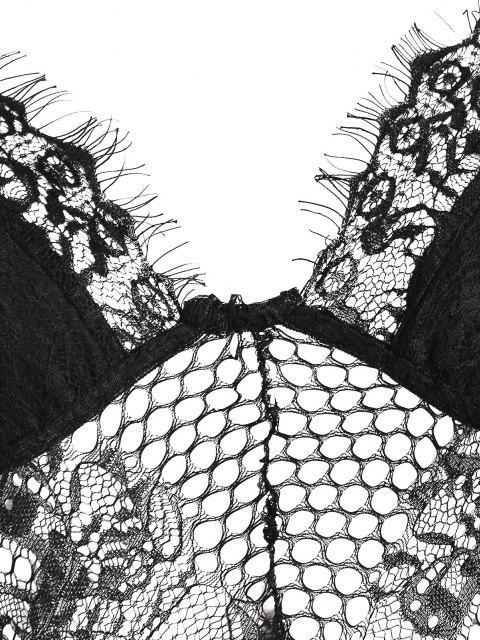 fancy Lace Insert Backless Split Flare Jumpsuit - BLACK S Mobile