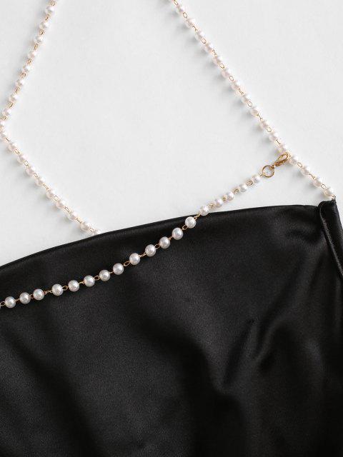 best Cowl Neck Faux Pearl Strap Crisscross Dress - BLACK M Mobile
