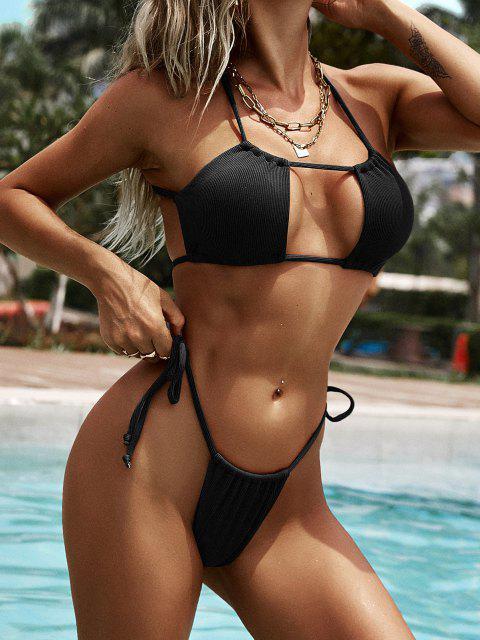 affordable ZAFUL Ribbed Crisscross Back Tie Cutout Bikini Swimwear - BLACK S Mobile