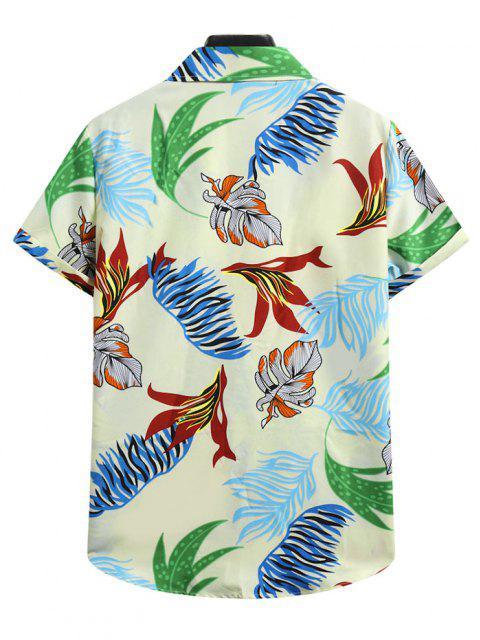 womens Short Sleeve Tropical Leaf Shirt - LIGHT YELLOW XL Mobile